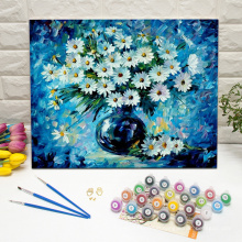 White daisies in a blue background paint by numbers kit framed wall art