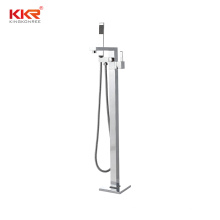 Solid Brass Freestanding Bathtub Faucet Tub Filler with Hand Shower Brushed Nickel