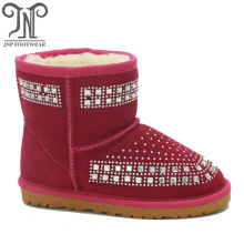 Girls Red Snow Suede Boots with Crystals
