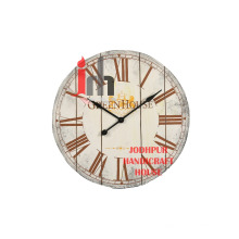 Old White Wooden Wall Clock