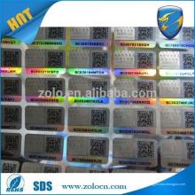 Etiqueta anti-falsa / rótulo de pano holográfico / etiqueta de roupa de holograma