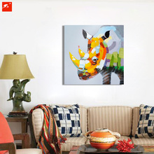 Wildlife Wall Art Colorful Rhino Oil Painting