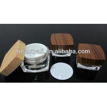15ml 30ml50ml 100ml padrão de madeira cosméticos quadrados frascos de creme acrílico