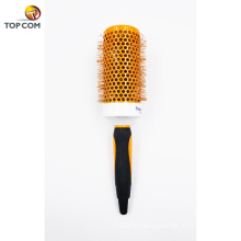hot selling new design professional orange color nylon plastic bristle hair brush