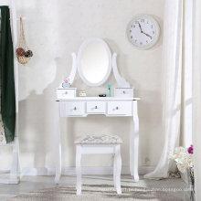 Penteadeira de madeira branca com espelho oval e fezes quarto mesa chique gasto 5 conjuntos de mesa de maquiagem