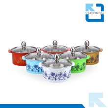 Bunte Edelstahl Hot Pot & Stock Pot mit Glasdeckel