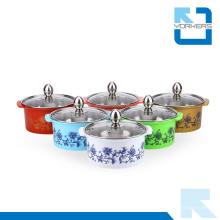 Canapé et pot de stockage en acier inoxydable coloré avec couvercle en verre