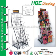 collapsible metal pocket display stand,steel wire brochure display stand,floor card stands