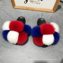 2020 top fashion lady fur slides women outdoor fluzzy slippers  women fashion fur slippers