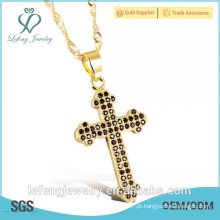 Melhor venda de melhor qualidade de ouro branco jóias diamante platina cruz colar