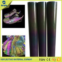 Material de tecido de couro reflexivo TPU para sapatos