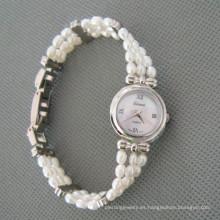 Reloj blanco de la perla de agua dulce, reloj de la mano de la perla (WH105)