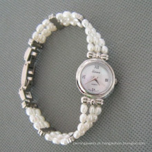 Relógio de pérola de água doce branco, relógio de mão de pérola (wh105)