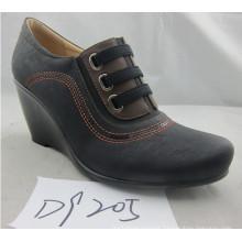 Fashion Wedge High Heel Round Toe Dress Shoes