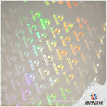 Holographic transparent bopp plastic lamination film supplier