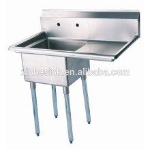 1 fregadero de compartimento de acero inoxidable comercial One Bowl con un solo tablero de drenaje