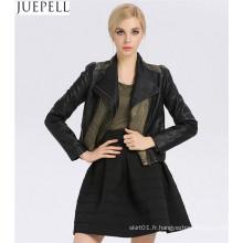 Nouveau Col Coréen Mince Dames PU En Cuir Jeans Couture Européenne Femmes PU Veste Usine