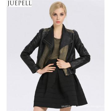 Новый воротник корейский тонкий дамы PU кожаные джинсы шить Европейский женщины искусственная Фабрика куртки