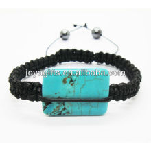 24*16*4MM turquoise rectangle beads woven bracelet