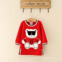 Las muchachas del bebé mujeres deporte ropa de manga larga, trajes de fiesta vestido para niños, las mujeres rojas se visten los vestidos frescos estilo deportivo con el oso