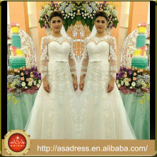 AWD-06 Lace Appliqued Bridal Wedding Dresses 2015 Custom Made White A-Line O-Neck Andar de comprimento Long Wedding Gowns