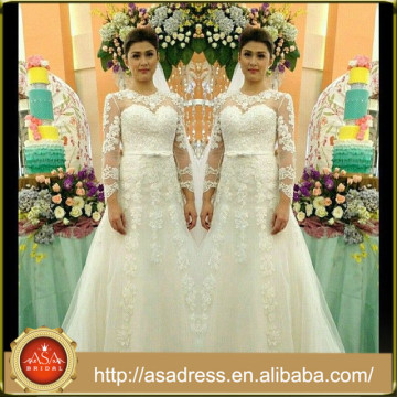 AWD-06 Lace Appliqued Bridal Wedding Dresses 2015 Custom Made White A-Line O-Neck Floor-Length Long Wedding Gowns