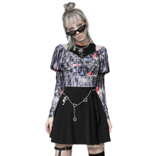 Punk style spring women shirt V neck puff long sleeve stretch mesh T shirts OPT-578TC ladies clothes wholesale price PUNK RAVE