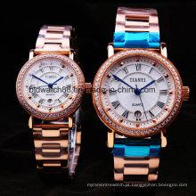 Relógios de aço inoxidável chapeados ouro dos pares de Rosa para amantes