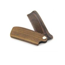 FQ marca al por mayor plegable peine de madera barba logotipo personalizado sándalo v peine