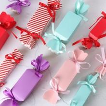 Caixa de papel de chocolate com nó de fita