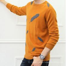 PK18ST072 cashmere padrão de couro moda homem camisola