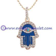 Rose Gold Dark Blue Enamel Hamsa Necklace