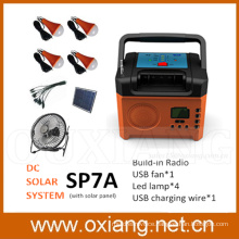 Portable solar lighting kit sunlight charged DC fan solar electricity generating system