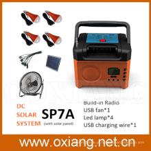 Solar portátil kit de iluminação solar cobrado sistema de geração de eletricidade solar ventilador DC