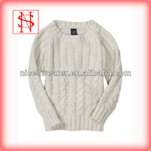 New design fashion cable 100%wool baby sweater design