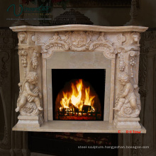 2018 New Marble Fireplace Mantel White Cherub
