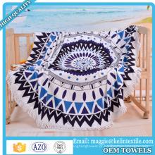 100% algodão costume impresso borla rodada toalha de praia