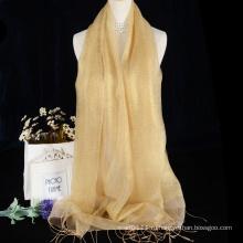 Блестящий шелк-сырец шарф однотонный с кистями дизайн