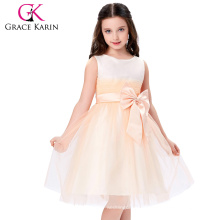 Grace Karin New Arrival Lovely Sleeveless Long Satin Flower Girls Dresses Baby Girls Birthday Dress 2~12 Years CL4837