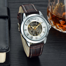 luxury crystal mineral glass leather mens watch