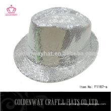 Chapéu barato barato do Fedora do Sequin Branco