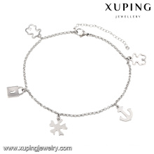 74510 Newest Fashion Rhodium Lock Women Imitation Stainless Steel Jewelry Anklet
