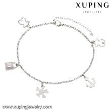 74510 mais novo moda ródio bloqueio mulheres imitação de aço inoxidável jóias tornozeleira