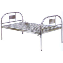 Cama de hospital plana de acero inoxidable