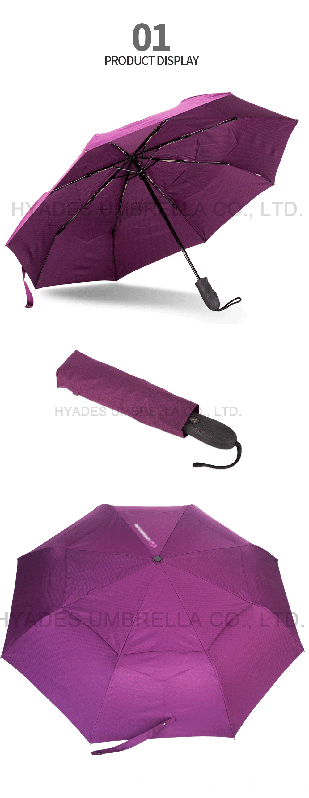 Auto Ope And Close Folding Umbrella Double Layered