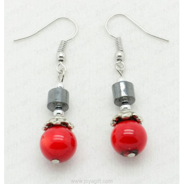 Red Coral Drum Beads hematite earring