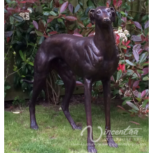 Lebendige lebensgroße Bronze Greyhound Dog Statue für Innendekoration