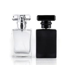 Botella de cristal negra de la bomba del perfume del cuadrado 100g