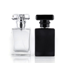 Frasco quadrado de vidro preto da bomba de perfume 100g