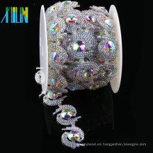 Crystal Cup Rhinestone apliques de recorte para nupcial Crystal Sash Wedding Belt